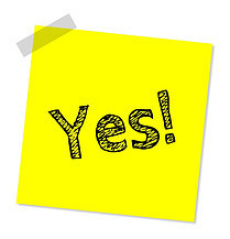 yellow post it note saying yes