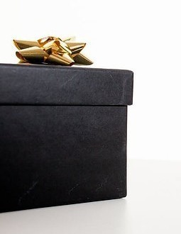 Black present with gold ribbon