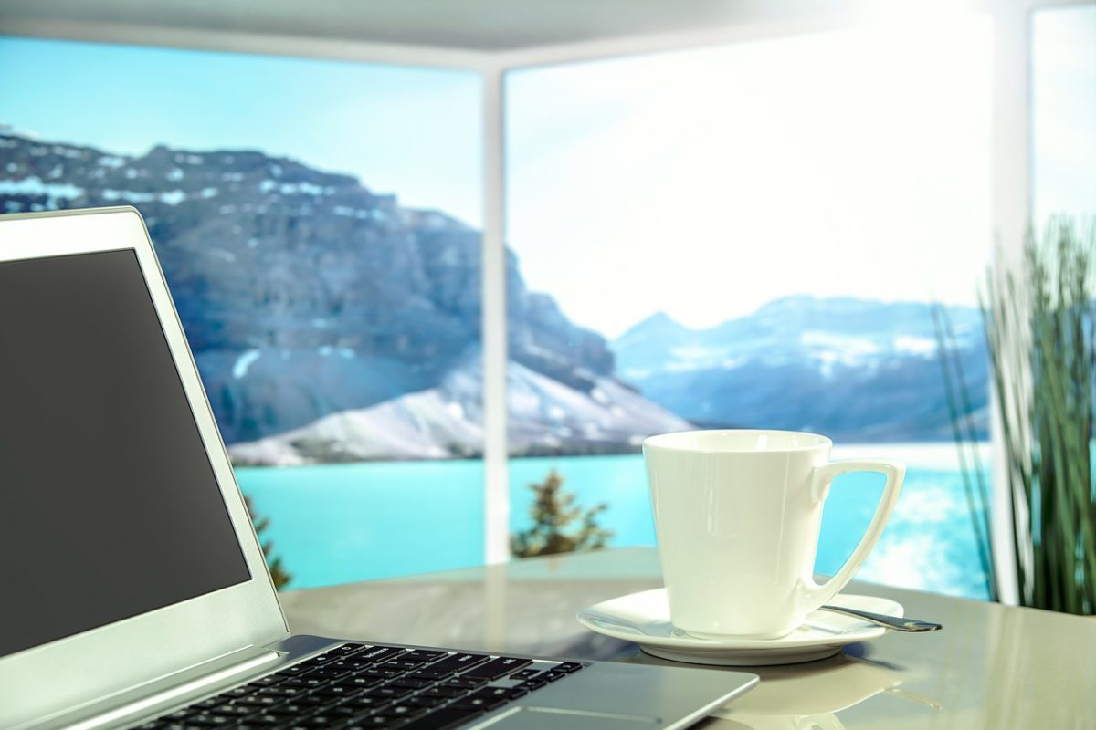Lap top coffee cup great views