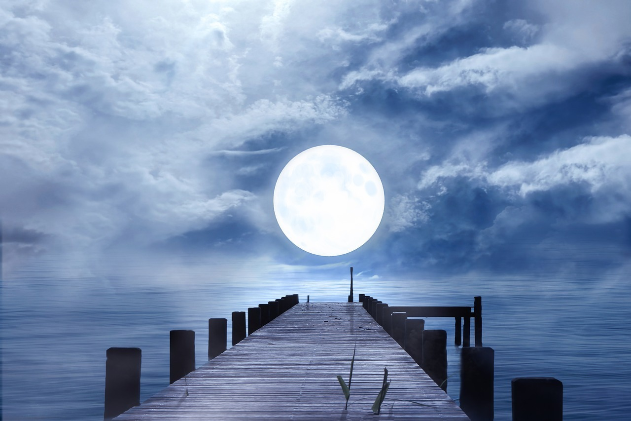 jetty leading to full moon
