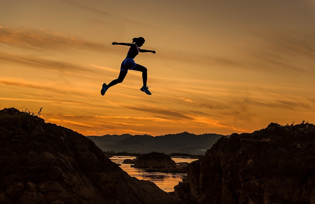 silhouette woman jumping