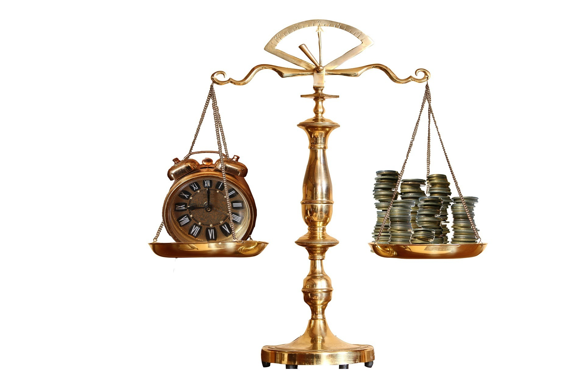 gold scales showing time and money