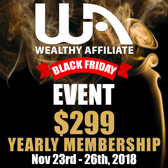 Wealthy Affiliate Black Friday 2018 banner