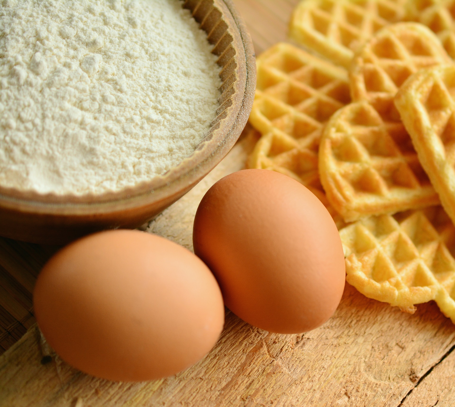 Waffles eggs and flour ready to make brunch
