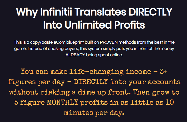 Infinitii life changing profit claim