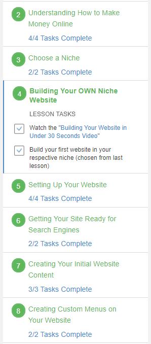 Level 1 Tasks within each lesson