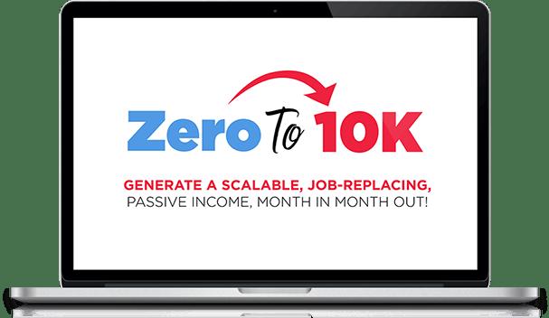 Zero to $10K Logo on computer screen