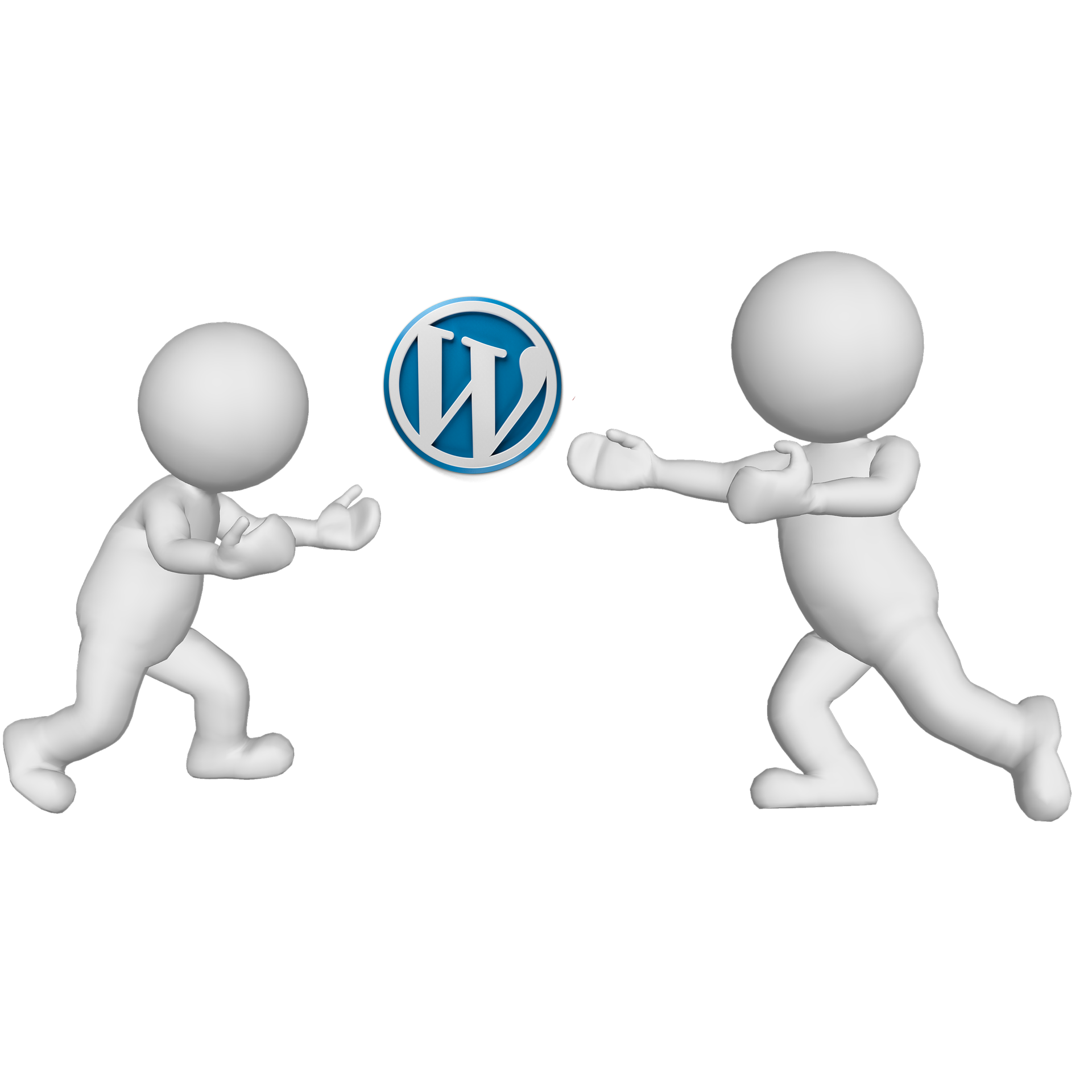 Wordpress logo between two white dudes