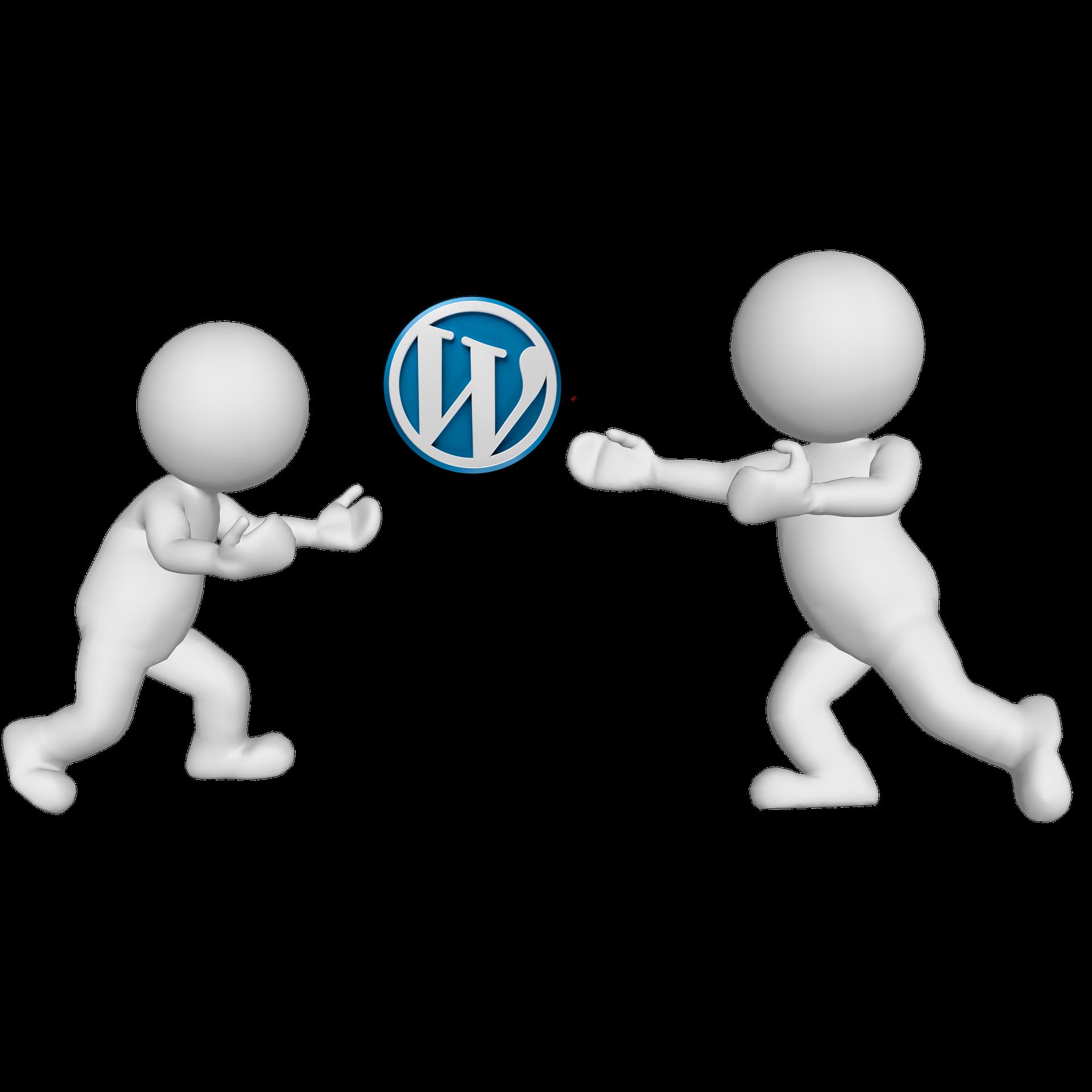 Wordpress logo between two white dudes