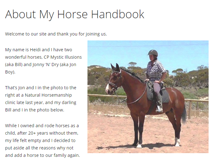 About Me My Horse Handbook