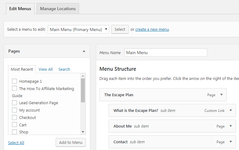 Wordpress Dashboard Menu Structure