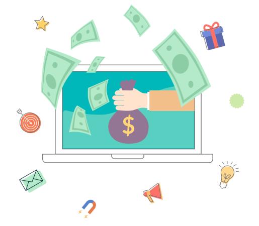 Computer cartoon with bag of cash